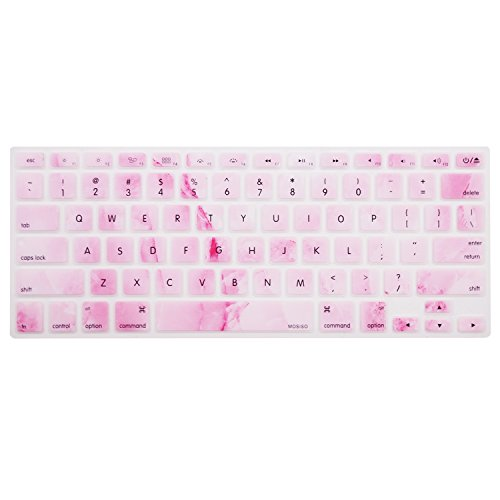 MOSISO Keyboard Cover with Pattern Compatible 13/15 Inch(with/Without Retina Display,2015 or Older Version), Older MacBook Air 13 Inch (A1466/A1369, Release 2010-2017),White Pink Marble
