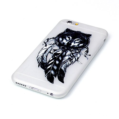 iPhone 6 / 6S Plus Hülle mit Fluoreszenz , Modisch Schwarze Eule Transparent TPU Silikon Schutz Handy Hülle Handytasche HandyHülle Etui Schale Schutzhülle Case Cover für Apple iPhone 6 / 6S Plus