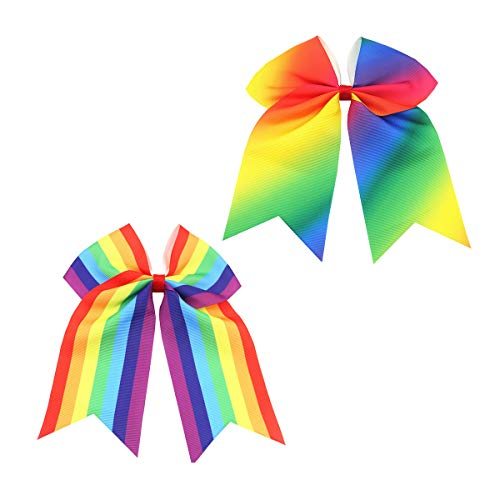 Rainbow Hair Bows Cheerleading Ponytail Holder Rainbow Hair Rope Tie for Girls JB82 (2 Pcs-Set D)
