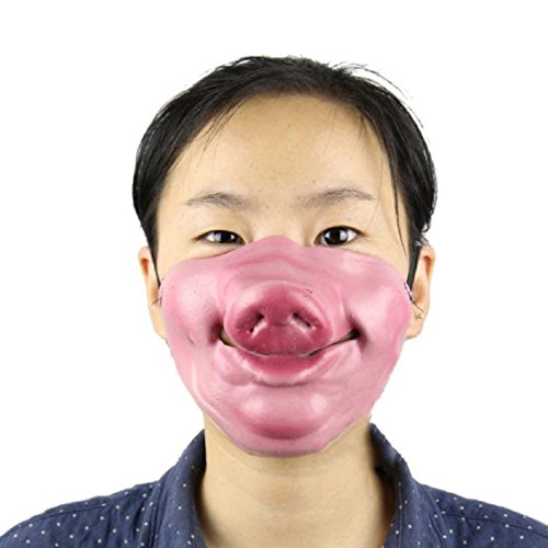 OVERMAL 1pc High simulation latex half face PigHead duzui funny horror ghost (Dawn Of The Dead Mask)