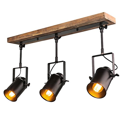 LNC Wood Close to Ceiling Track Lighting Spotlights 3-Light Track Lights by LNC
