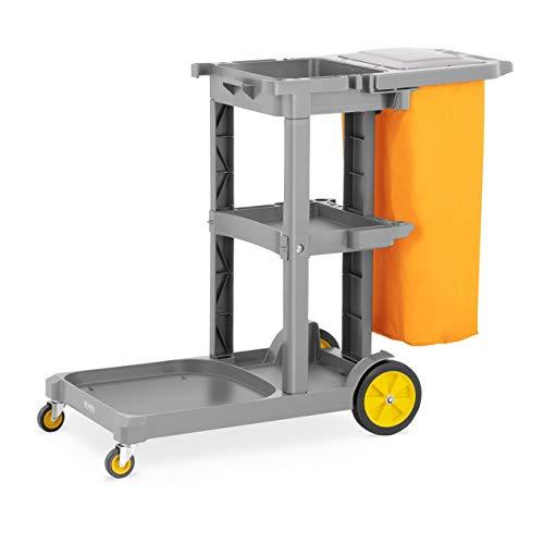 ulsonix UNICLEAN 13 Cleaning Janitoriale Hotel Trolley Cart (Laundry Bag Geel, Deksel, Plastic, 3 Niveaus)