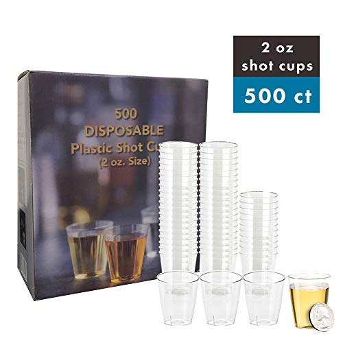 Select Settings [500 pc.] Disposable Plastic Shot cups (Size 2 oz.) Great For Jello Shots
