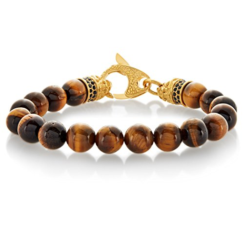West Coast Jewelry | Crucible Tiger's Eye Bead Gold Plated Stainless Steel Bracelet (10mm Wide) - - Tigers Plated Gold Eye