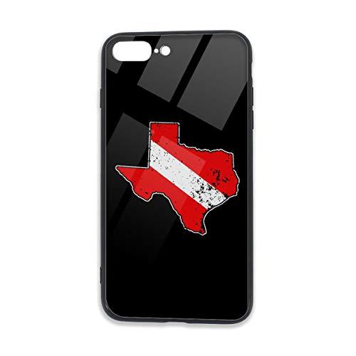 (Vintage Texas Scuba Dive Flag Map Diving Diver,5.5 Inches Unisex Case for iPhone 7/7S/8/8S Plus TPU Glass Phone Case)