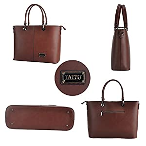 IAITU Laptop Tote Bag, Practical Work Bag with Adjustable Strap for 15-15.6 inch Tablet/MacBook/Ultra-Book (Coffee)