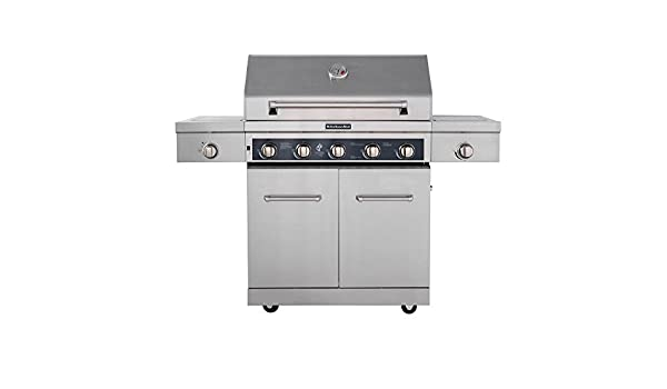 Amazon.com: KitchenAid 5 Burner Propane Gas Grill In Stainless Steel With  Ceramic Sear Side Burner And Side Burner: Sports U0026 Outdoors