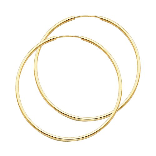 14k Yellow Gold 1.5mm Thickness Endless Hoop Earrings – 8 Different Size Available