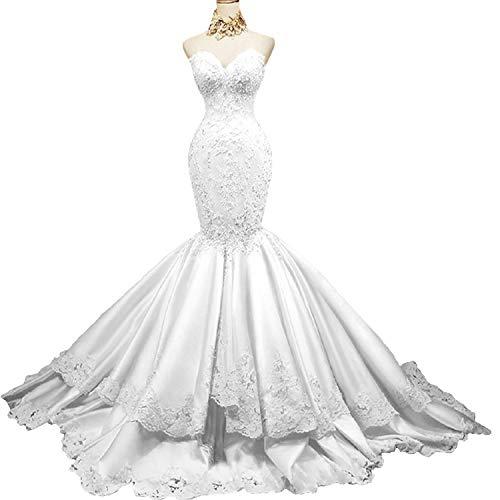- Yuxin Sweetheart Strapless Mermaid Lace Wedding Dress Beading Satin Bridal Gowns White
