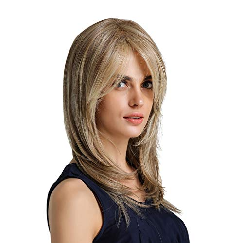 White Classic Blonde Wig Curly None Lace Front Wig Long Straight Wigs Synthetic Hair Replacement Wig Ombre 2 Tone for Women (a)]()