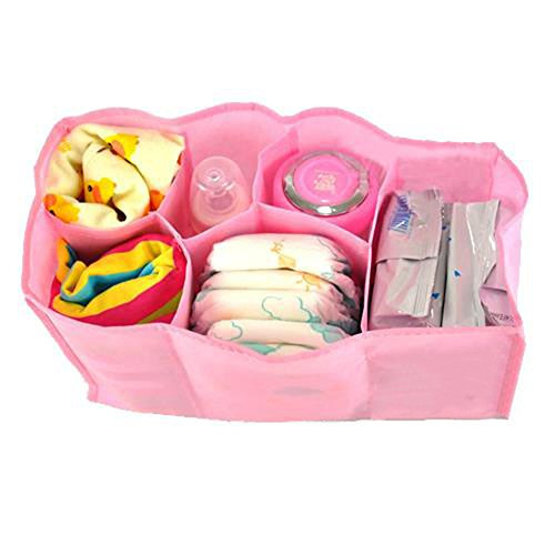 Mother Travel Nappy Bag for Storage Baby Diaper Nappies Clothes (Pink., L.)