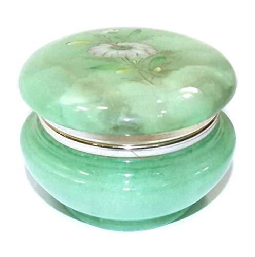 Green Jade Vintage (Vintage Jade Green Alabaster Trinket Box Hinged Lid with Hand-Painted Flower)