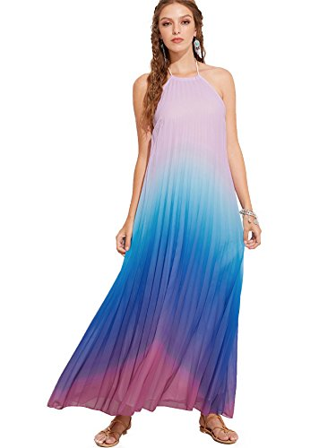 Milumia Women's Color-Block Chiffon Loose Long Maxi Dress Medium Red and Blue