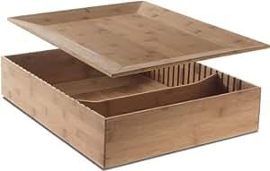 Alessi Fat Tray - Caja compartimentada con bandeja para tapar (madera)