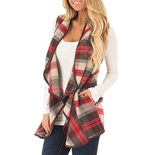 Clearance!Dressin Womens Sleeveless Open Front Hem Plaid Vest Cardigan Jacket with Pockets