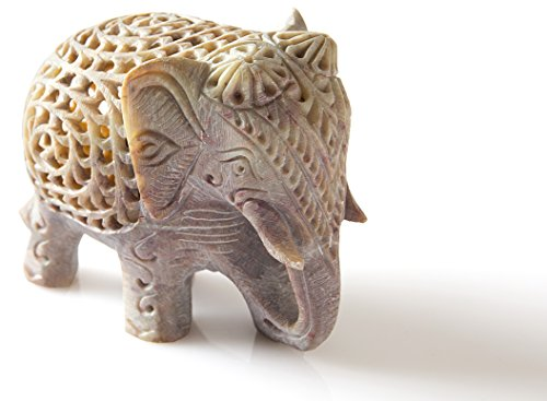 StarZebra Novelty Item - Nested White Elephant Figurines Handmade in Jali or Openwork From a Single Block of Stone From India