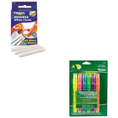 (KITDIX31144DIX47076 - Value Kit - Prang Hygieia Dustless Board Chalk (DIX31144) and Ticonderoga Emphasis Desk Style Highlighter (DIX47076))