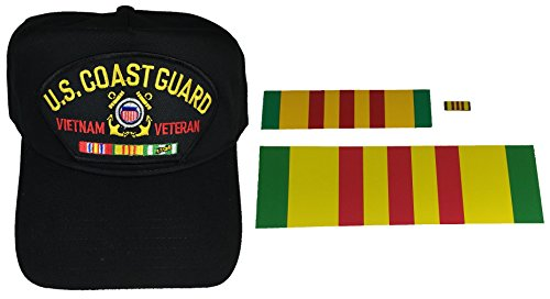 COMBO GIFT SET US COAST GUARD VIETNAM VETERAN WITH CAMPAIGN RIBBONS HAT, DECALS AND PIN - BLACK - Veteran Owned Business ()