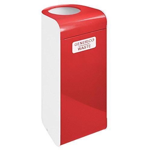 Contenitore per raccolta differenziata con coperchio apertura basculante e anello reggisacco - 30 x 30 x 70h cm - Metallo Laccato Rosso - GENERICO/WASTE EcoWorldHotel