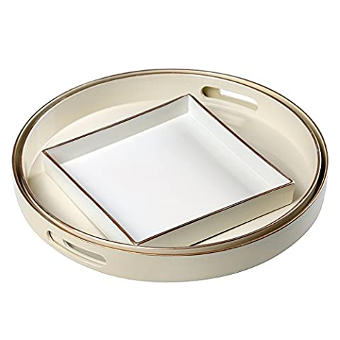 CC Wonderland Serving Tray Table (Set of 3) , Round, Creamy White, 2 circles and 1 small square, (Round Tray For Ottoman)