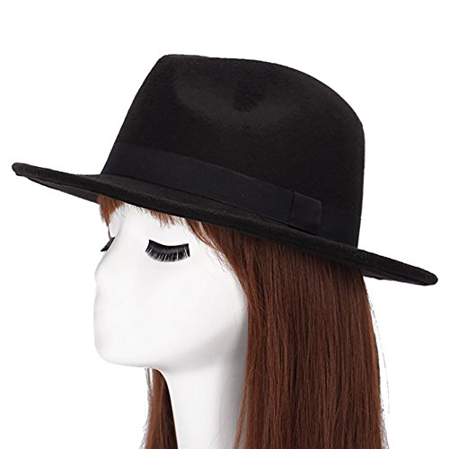 SoundsBeauty Women Men Vintage Wool Blend decors Winter Flat Wide Brim Bowler Hat Cap Gift - (Flat Brim Wool Felt Hat)