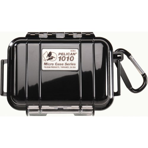 Pelican Genuine 1010 Micro Case Solid Black with Black Lid And Carabiner