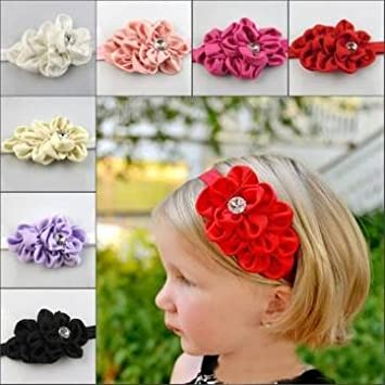 Image Unavailable. Image not available for. Color  Baby Toddler Infant Flower  Rhinestone Headband Hair Bow Band Accessories ... 72d02fd33838