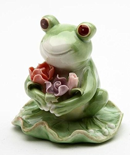ATD 3.38 Inch Smiling Green Frog with Flowers on Lily Pad Statue Display - Lily Pad Frog Display