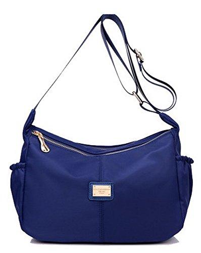 AgooLar Mujeres Bolsos cruzados Fiesta Satchel-Style Nylon Bolsas de hombro, GMXBA181384, Azul Azul