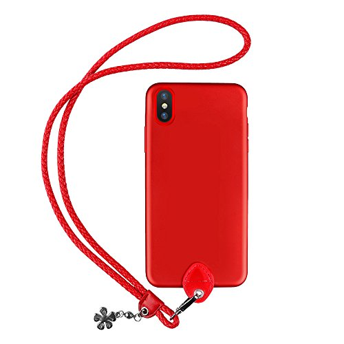 pzoz Case Compatible iPhone X Case, Slim Silicone Lanyard Case Cover Holder Long Hanging Neck Wrist Strap Outdoors Travel Necklace Compatible iPhone X (Red)