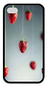 iPhone 4S/4 Case Cover - Strawberries Art Cool Design TPU Black Case for Apple iPhone 4s and iPhone 4