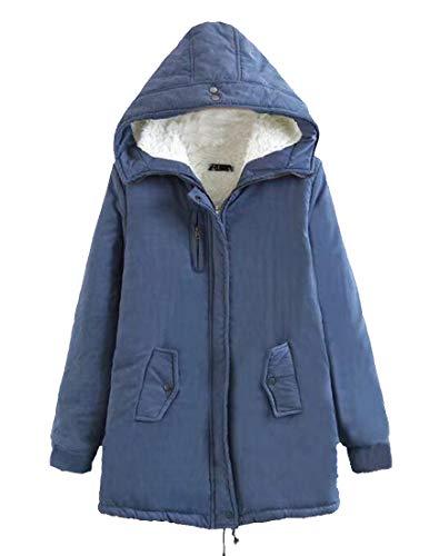 H&E Womens Winter Hooded Wool Lined Fleece Military Anorak Parkas Jacket Denim Blue