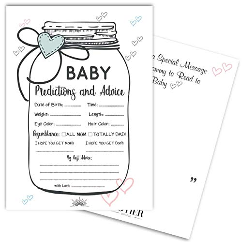 24 Baby Shower Mason Jar Prediction and Advice Game Cards | Gender Neutral, Boy, Girl, and Gender Reveal Themes | Best Wishes and Favor Keepsake Message Area for Mom and Dad from COTIER BRAND