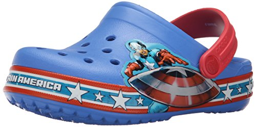 Image of Crocs Crocband Varsity Blue/Red Captain America Clog, 6 M US Toddler/7 M US Toddler