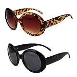 Pop Fashionwear Womens Fashion Circle Round Jackie O Bold Chic Sunglasses P547 (2 Pc Black-Smoke Lens &Tortoise-Brown Lens)