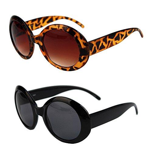 (Pop Fashionwear Womens Fashion Circle Round Jackie O Bold Chic Sunglasses P547 (2 Pc Black-Smoke Lens &Tortoise-Brown Lens))