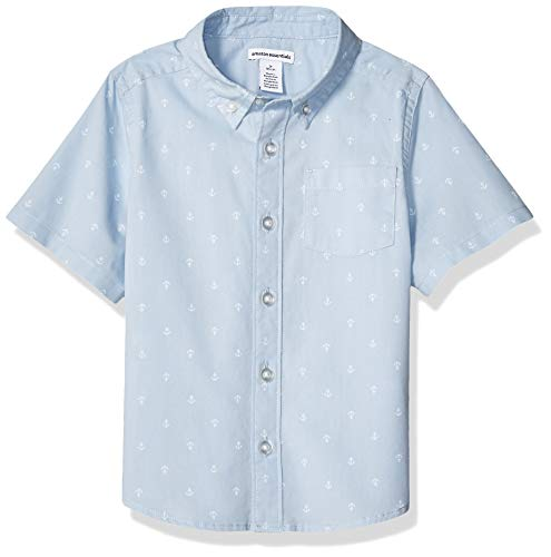 - Amazon Essentials Big Boys' Short-Sleeve Poplin/Chambray Shirt, Anchor Light Blue, M (8)