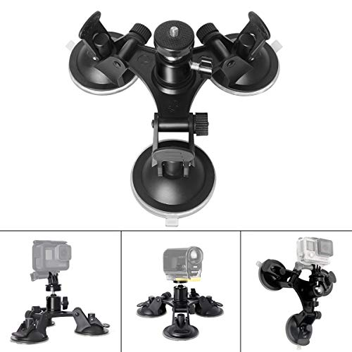 Triple Cup DSLR Camera Suction Mount w/Ball Head Compatible with Nikon Canon Sony DSLR /Camcorder + GoPro Hero 7 6 5 /4/3 Sony Garmin Xiaomi Yi SJCAM Suction Cup Mount Car Mount Holder Window Mount