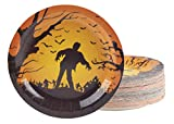 zombie supplies - Disposable Plates - 80-Count Paper Plates, Halloween Party Supplies for Appetizer, Lunch, Dinner, and Dessert, Zombies and Bats Design, 9 Inches Diameter