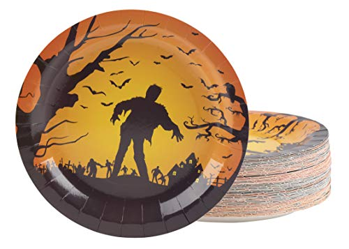 Disposable Plates - 80-Count Paper Plates, Halloween Party Supplies for Appetizer, Lunch, Dinner, and Dessert, Zombies and Bats Design, 9 Inches Diameter