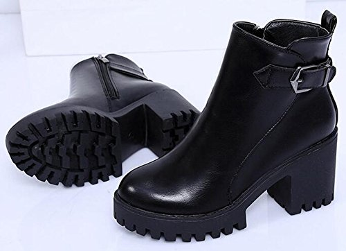 IDIFU Womens Vintage Platform Side Zipper Motor Ankle High Boots With High Chunky Heels Black 1tnJDEt