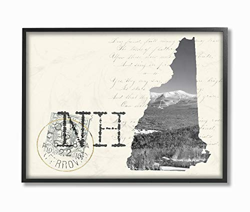The Stupell Home Decor New Hampshire Black and White Photograph on Cream Paper Postcard Framed Giclee Texturized Art, 16 x 20, Multi-Color ()