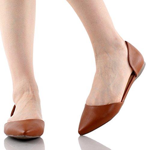 Breckelle Dolley-22 Kunstleer Puntige Teen Dorsay Slip Op Ballerina Ballet Platte Kleur (6)