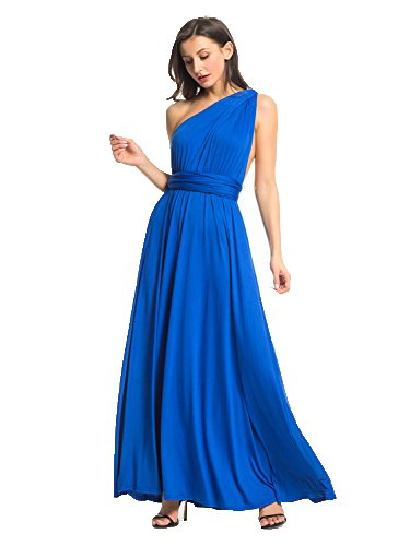 One Shoulder Convertible Wrap Cocktail Bridesmaid Long Maxi Dress L by Clothink