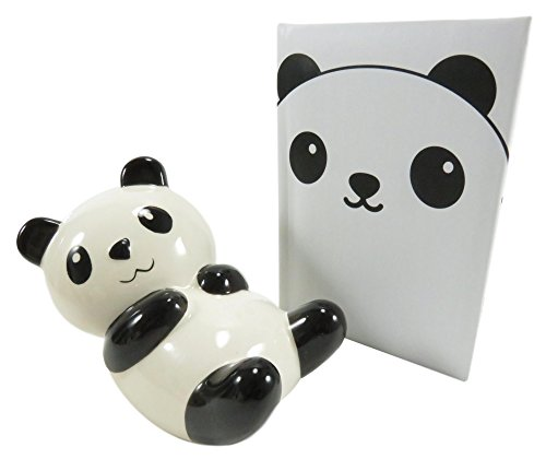 Adorable Ceramic Chillin' Panda Savings Bank and Panda Pocket Notebook Journal Diary (2 Piece Set)