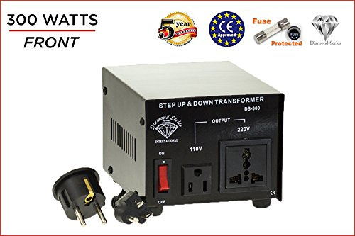 International Diamond Series Dynastar Step Up & Step Down Voltage Converter and Transformer, 110-220 to 220-240 Volts; Heavy Duty, Extra Durable Lifetime Coil, 5-Year-Warranty, 300 Watts ()