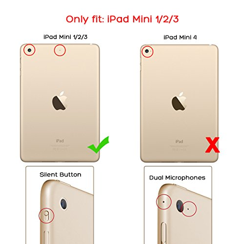 iPad Mini 3 Case,iPad Mini Case,ULAK Ultra Slim 360 Rotating Smart Stand Case Cover for Apple iPad Mini 1/ iPad Mini 2/ iPad Mini 3 with Sleep/Wake Feature (Champagne Gold) Photo #2