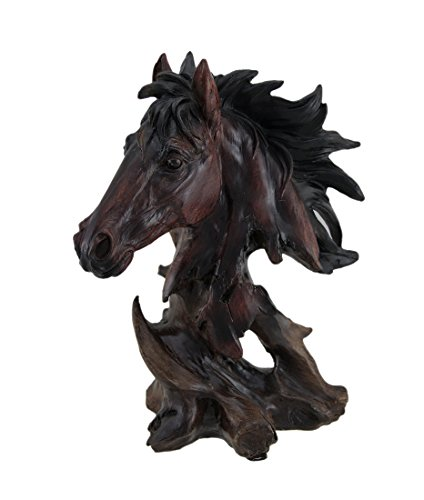 Wooden Like Horse Head Figurine Statue