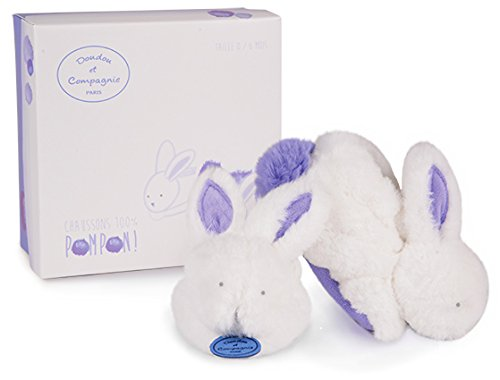 - Doudou et Compagnie -White and Lavender Pompom Bunny Booties With Rattles