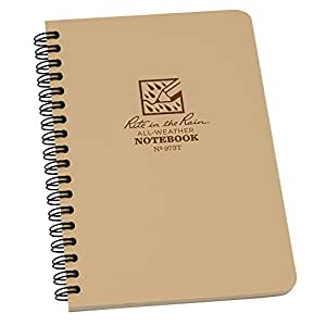 "Rite in the Rain All-Weather Side-Spiral Notebook, 4 5/8"" x 7"", Tan Cover, Universal Pattern (No. 973T)"